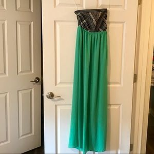 Teal maxi dress with patterned bust